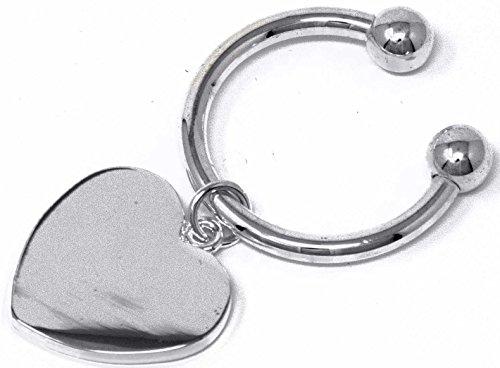 Heart Horseshoes (Silver Heart Horseshoe Screwball Keychain With Single-Side Easy-Open Key Holder)