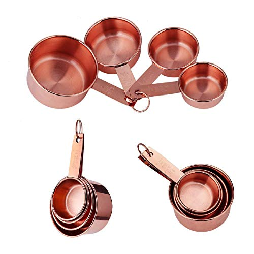 Premium heavy gauge Copper Measuring Cups Set, 4 pieces - Nesting Copper Plated Stainless Steel Heavy Duty Measurement Cups For Dry & Liquid Ingredients - Rustic Kitchen Décor - Lovely Gift idea