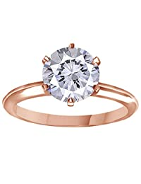 9mm Moissanite Diamond Brilliant 14K Gold Solitaire Engagement 3 Ct Ring