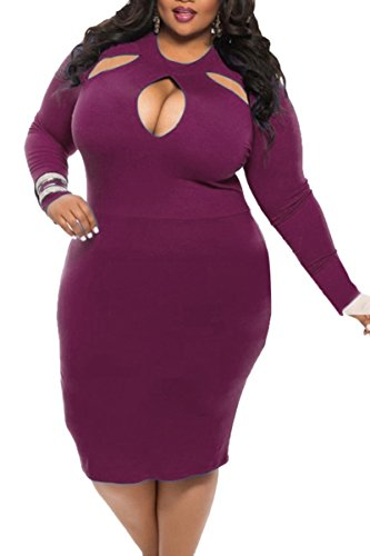 Sundray Women Hollow Out Long Sleeve Bodycon Plus Size Party Evening Dress (Purple Masquerade Dresses)