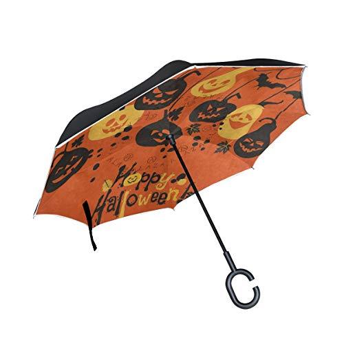 Ladninag Reverse Umbrella Cartoon Pumpkin Bat Happy Halloween Inverted UV Protection Umbrella Reversible for Golf Car Travel Rain Outdoor Black]()