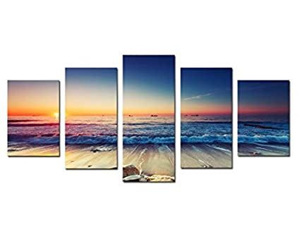 Amazon Com 5 Panels Framed Wall Art Waves Painting On