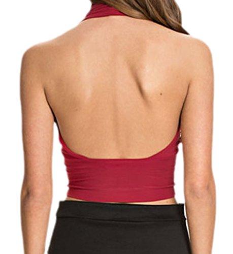 erdbeerloft - Conjunto - cuello hálter - Sin mangas - Opaco - para mujer rojo burdeos