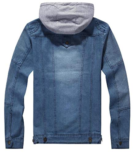 Distressed Coats Winter Men's Casual Fit Slim Jacket EKU Hooded Jeans Blue Down Jacket Denim pS7q1xv