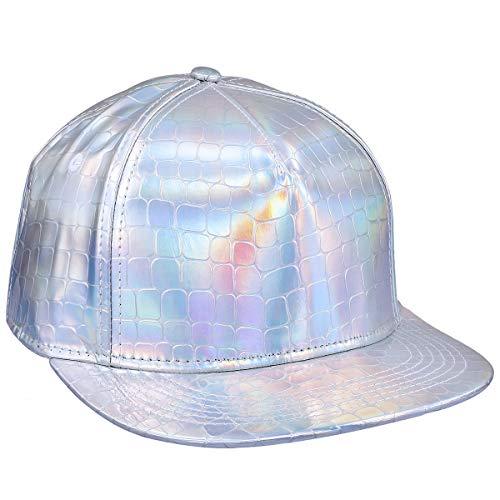 Samtree Unisex Snapback Hats,Adjustable Hip Hop Flat Brim Baseball Cap (03-Silver Snake Veins) ()