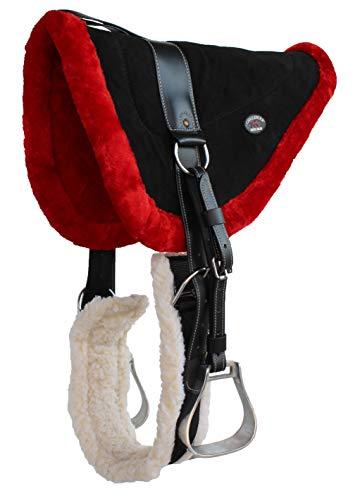 Horse Western Fleece Padded Suede Bareback Saddle Pad w/Cinch Stirrups 39157