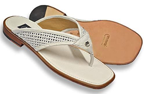 Mauri Men's Genuine Ostrich Woven Calfskin Sandals 1480/7 (13) White