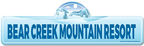 Bear Creek Mountain Resort Street Sign | Indoor/Outdoor | Skiing, Skier, Snowboarder, Décor for Ski Lodge, Cabin, Mountian House | SignMission Personalized - Mountain Creek Ski