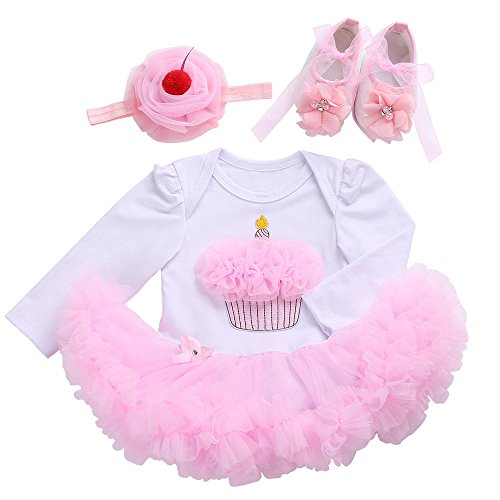 day Dress Tutu Toddler Baby Girl Clothes Shoes Headband 3 Pcs Cake Long Sleeve 12 Months Pink/White ()