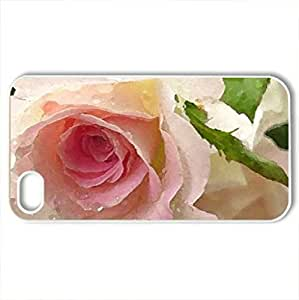 pink garden rose with waterdrops - Case Cover for iPhone 4 and 4s (Flowers Series, Watercolor style, White)