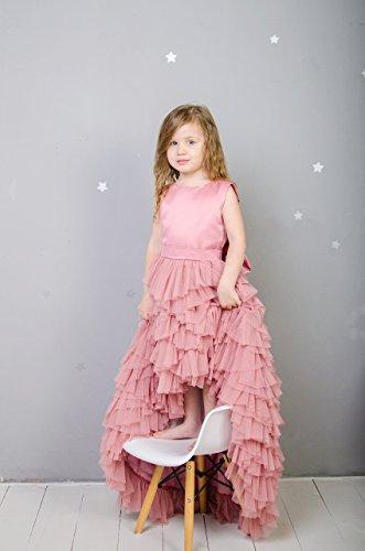 Flower girl dusty rose tutu tulle dress, pageant train dress, princess dress, birthday dress wedding dress first communion pink dress by MatchingLook