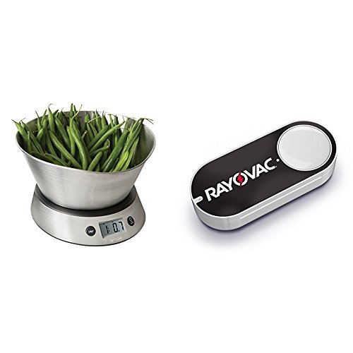 Taylor Weighing Bowl Digital Kitchen Scale, 11 lb. Capacity & Rayovac Dash Button