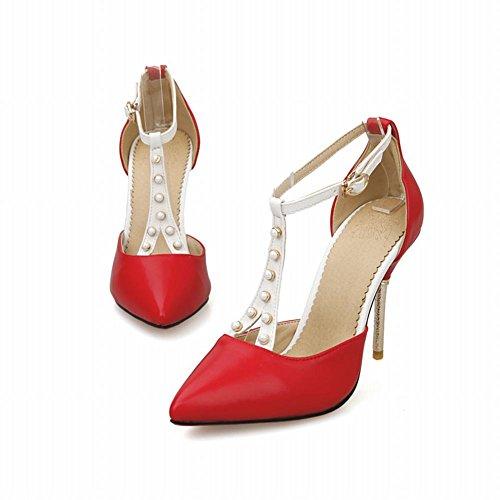 Latasa Kvinnor Ladylike Mode Pärlstav T-rem Spetsiga-toe Stilett Hög Klack Klänning Sandaler Röda