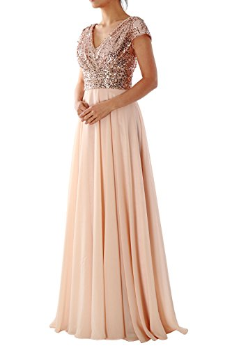 MACloth Cap Sleeve V Neck Sequin Chiffon Bridesmaid Dress Formal Evening Gown Rose Gold