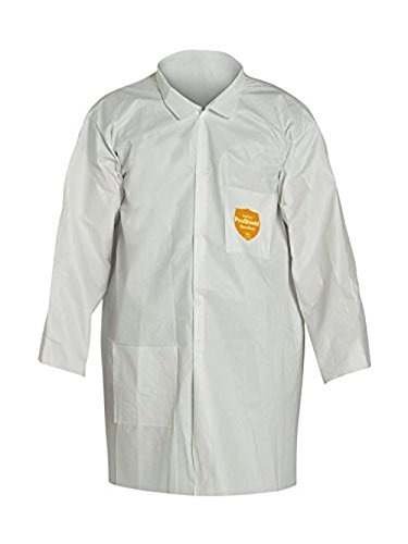 (Dupont NG212SWH3X003000 ProShield NexGen Lab Coat with Collar Open Wrists Extends Below Hip, Front Snap Closure, 3X-Large, White (Pack of 30))
