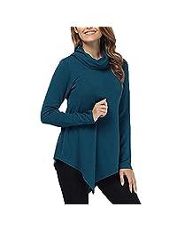 Clearance! Womens Long Sleeve Slim Turtleneck Fashion Solid Stretch Comfy Basic Turtleneck Top Irregular Shirts Blouse