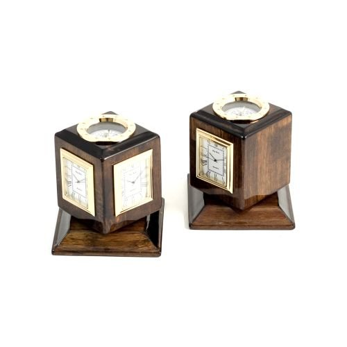 Bey-Berk SQ597T Lacquered Walnut Wood Three Time Zone Revolving Desk Clock with Compass Top and Engraving Plates. Black
