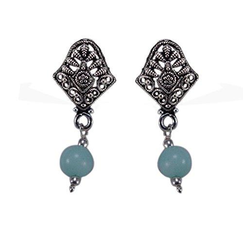 silvesto Inde bleu ciel à quartz Perles Plaqué Argent 925Boucles d'oreille Clous Sz 33mm PG 22898