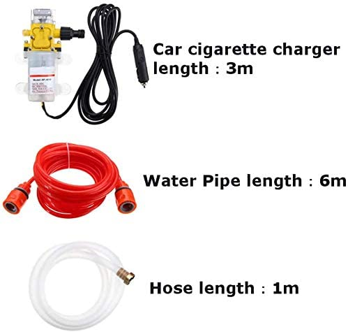 Portable Car Washing Machine Kit, DC 12V 100W 160PSI High Voltage Car Electric Washing Machine Washing Pump Set, Jet Wash for Deep Clean Patios Fences Garden