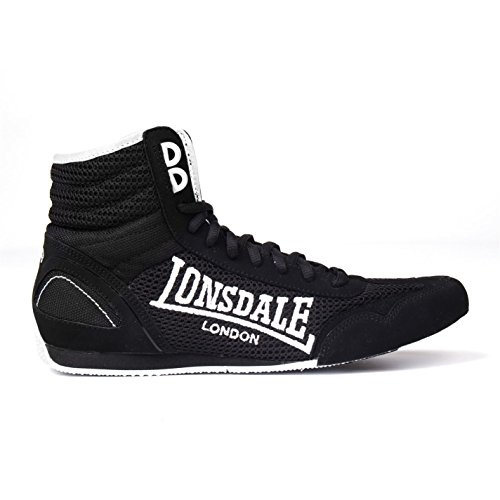 (Lonsdale Kids Contender Junior Boxing Boots Boys Mid Cut Laced Lightweight Shoes Black/White UK 3 (36))