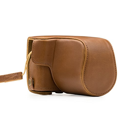 MegaGear Canon EOS M100 (15-45mm) Ever Ready Leather Camera Case and Strap, with Battery Access - Light Brown - MG1327