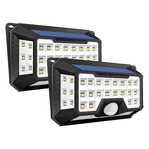 Solarleuchte LED Solarlampe, iGOKU 42 LEDs außenwandleuchten Bewegungsmelder solarlicht für außen, 270 °Weitwinkel P65 Wasserdicht, 3 Modi Hitzebeständig für Garten, Garage, Balkon(2 Stücke)