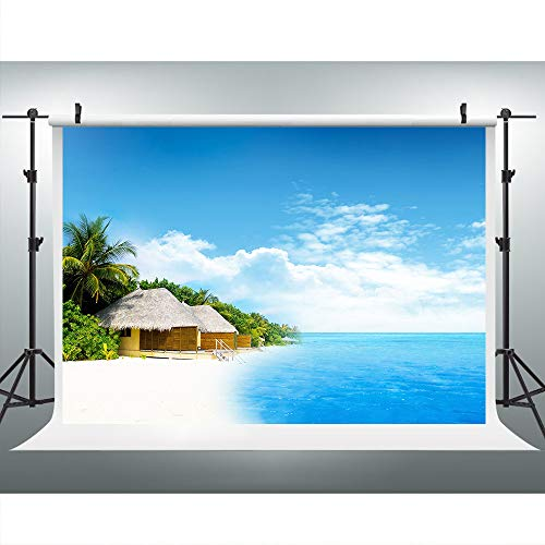 Seaside Leisure Cottage Backdrops for Photography, 9x6FT Backgrounds, Blue Sky Ocean White Sand Beach Backgrounds, Photo Booth Studio Props ()