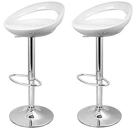 La Silla Española Pack de dos taburetes con asiento redondo en color blanco, en PVC, regulable en altura. 47x44x97 cm, 2 unidades