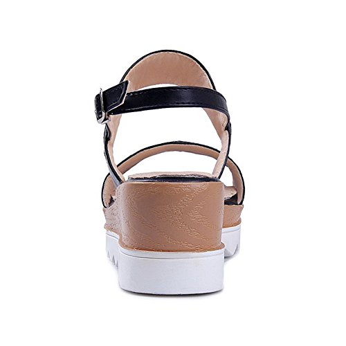 Toe Open AllhqFashion Farbe Schwarz sortiert Kitten Platforms Damen Pu Wedges Heels Buckle 4ETFWT7gq