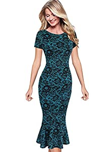 VfEmage Womens Elegant Vintage Floral Flower Print Mermaid Midi Mid-Calf Dress
