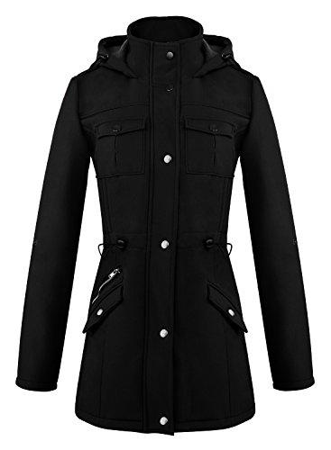 Abrigo ACHICGIRL Mangas Botones Mujer Largas Moda Bloque Color 2 Negro Elegante con rEwr8YnF