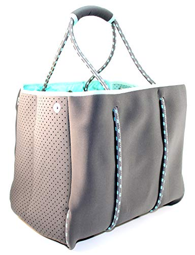 Nordic By Nature Large Designer Beach Bag Tote For Women, Men And Kids | Versatile Pool Bag With Zippered Pockets | Room For Towels, Toys And Lotion | For The Boat, Beach or Pool (Grey/Turquoise)