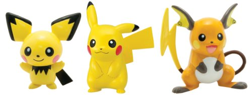 TOMY Pokemon Pichu, Pikachu and Raichu Action Figure, 3-Pack (Holo 2 Costumes)