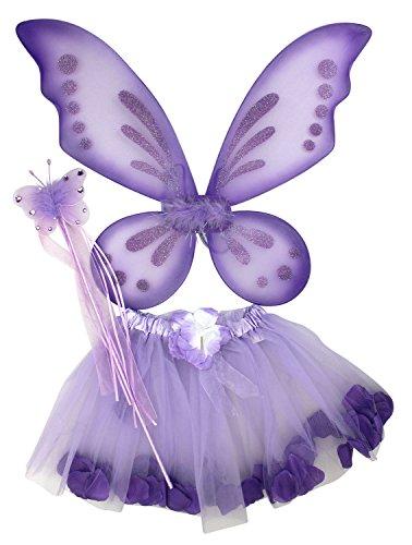 Pixie Fairy Halloween Costumes (Enimay Girl's 3 Piece Halloween Pixie Fairy Costume Wings Wand Skirt Purple)