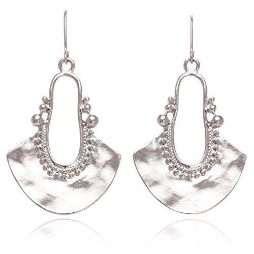 Boho Chic Hollow Shield Shape with Hammered Drop Earrings