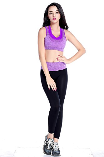 Women Racerback Sports Bras of High Elasticity Full Support Sport Bra with Comfort and Super Soft for Yoga, Fitness, M - Purple