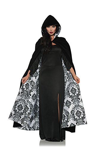 Women's Velvet & Satin Hooded Cape - (Full Length Satin Cape)