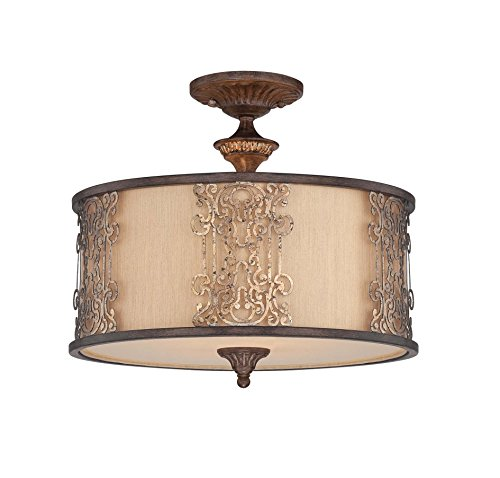 Savoy House 6-3952-3-124 Semi-Flush with Cream Shades, Fiesta Bronze with Gold Highlights Finish