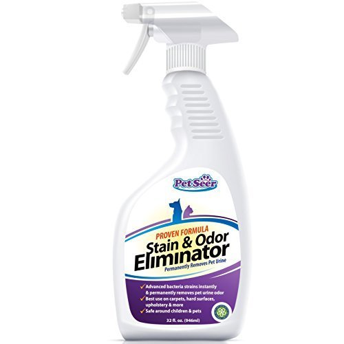 Petseer Pet Odor Eliminator and Stain Remover, Stop Cats From Peeing and Dog Re-marking, 32 oz.