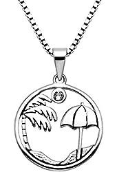 "Sterling Silver Palm Tree & Umbrella Pendant w/Crystal Stone & 20"" Box Chain"