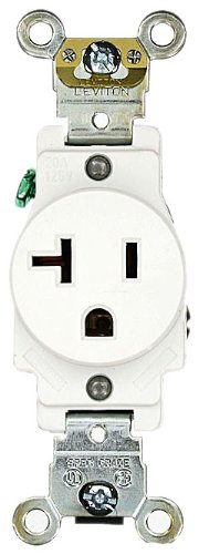 - Leviton 5361-W 20 Amp, 125 Volt, Industrial Heavy Duty Grade, Single Receptacle, Straight Blade, Self Grounding, White