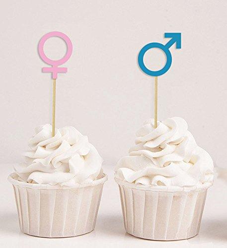 Darling Souvenir, Baby Gender Reveal Cupcake Toppers, Boy (Mars) or Girl (Venus) Symbol, Baby Shower Cake Decorations - Pack Of -