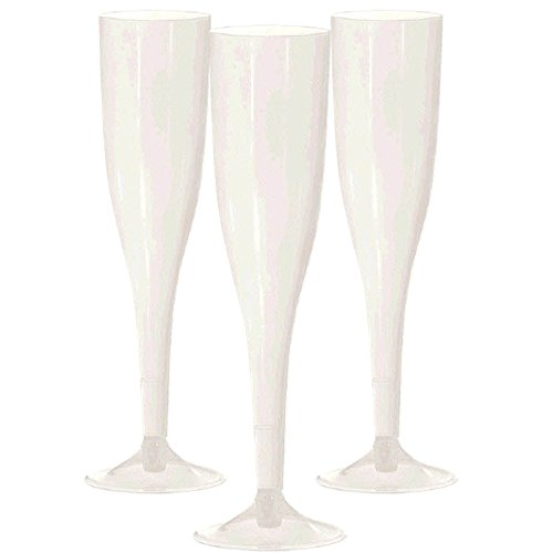 White Premium Plastic Champagne Flutes | 5.5 oz. | 20 ct. | Party Supply]()