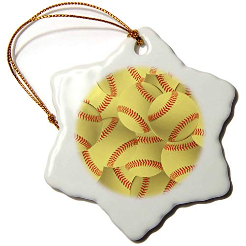 3dRose InspirationzStore Sports - Softball pattern - yellow red stitched balls - Soft ball sport - sporty - sporting game - team jock - 3 inch Snowflake Porcelain Ornament (orn_161324_1)