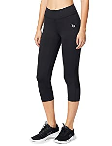 Baleaf Women's Workout Compression Tights 3/4 Capri Mesh Insert Leggings Cycling Running
