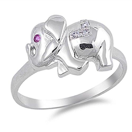 Cubic Zirconia Elephant - CloseoutWarehouse Pink Eye Cubic Zirconia Elephant Ring Sterling Silver Size 7