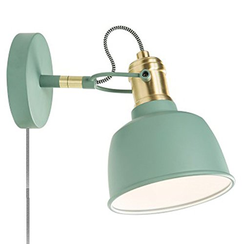Matte Sconce Blue (HXLMY Reading Wall Sconces Plug Button Switch E14 Wall Lamp Metal + Wood bedside bedroom Living Room Wall Light (Color : Blue))