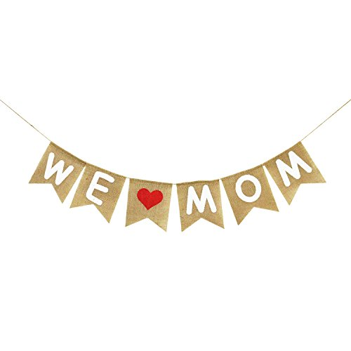 Burlap We Love Mom Banner Garland   Rustic Mothers Day Decorations   Mothers Day Gifts from Son and -
