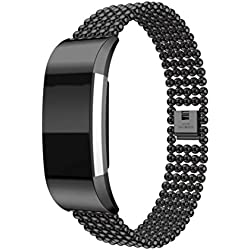 Fitbit Charge 2 Watch Band, Forthery Smart Watch Stainless Steel Replacement Strap Bracelet Wrist Band Watchband (Black)