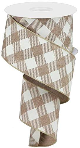 Flannel Ivory Ribbon - Diagonal Plaid Check Wired Edge Ribbon - 10 Yards (Light Beige, Ivory, 2.5